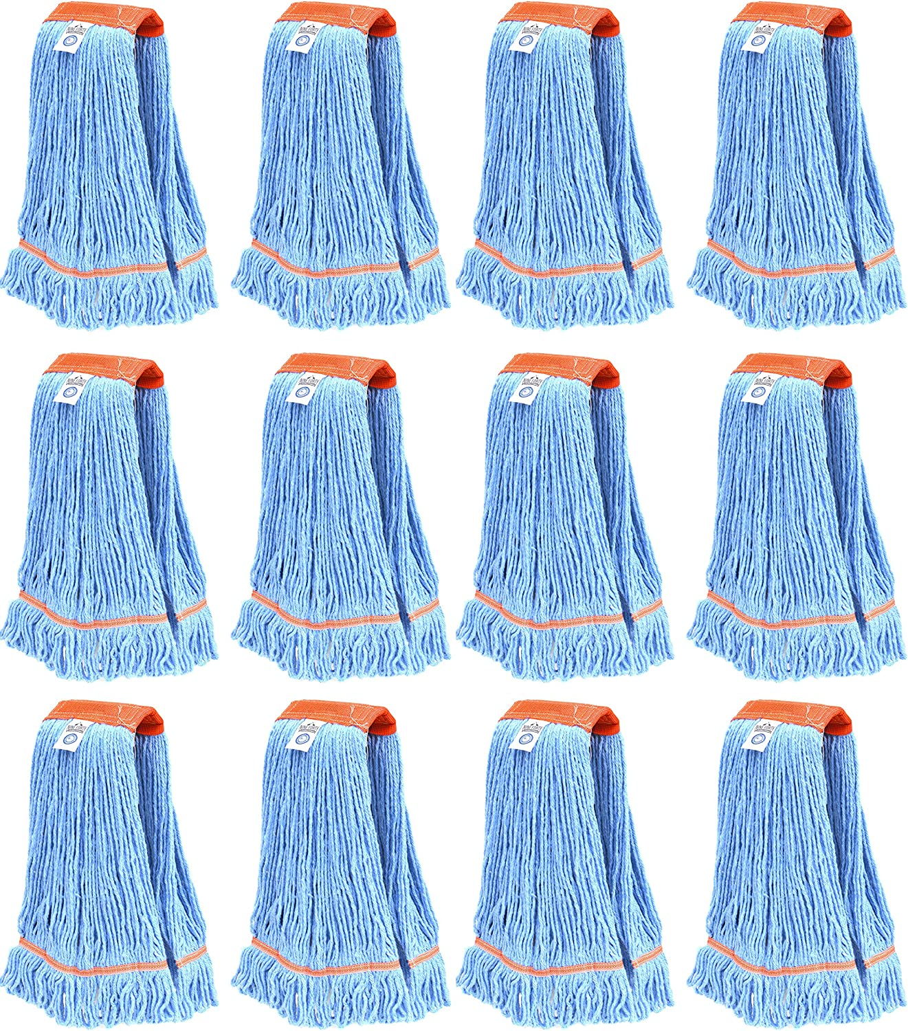 Nine Forty Industrial   Commercial Strength Premium Looped End Floor Cleaning Wet Mop Head Refill   Replacement – Heavy Duty 4 Ply Synthetic Yarn (12 Pack, Large)