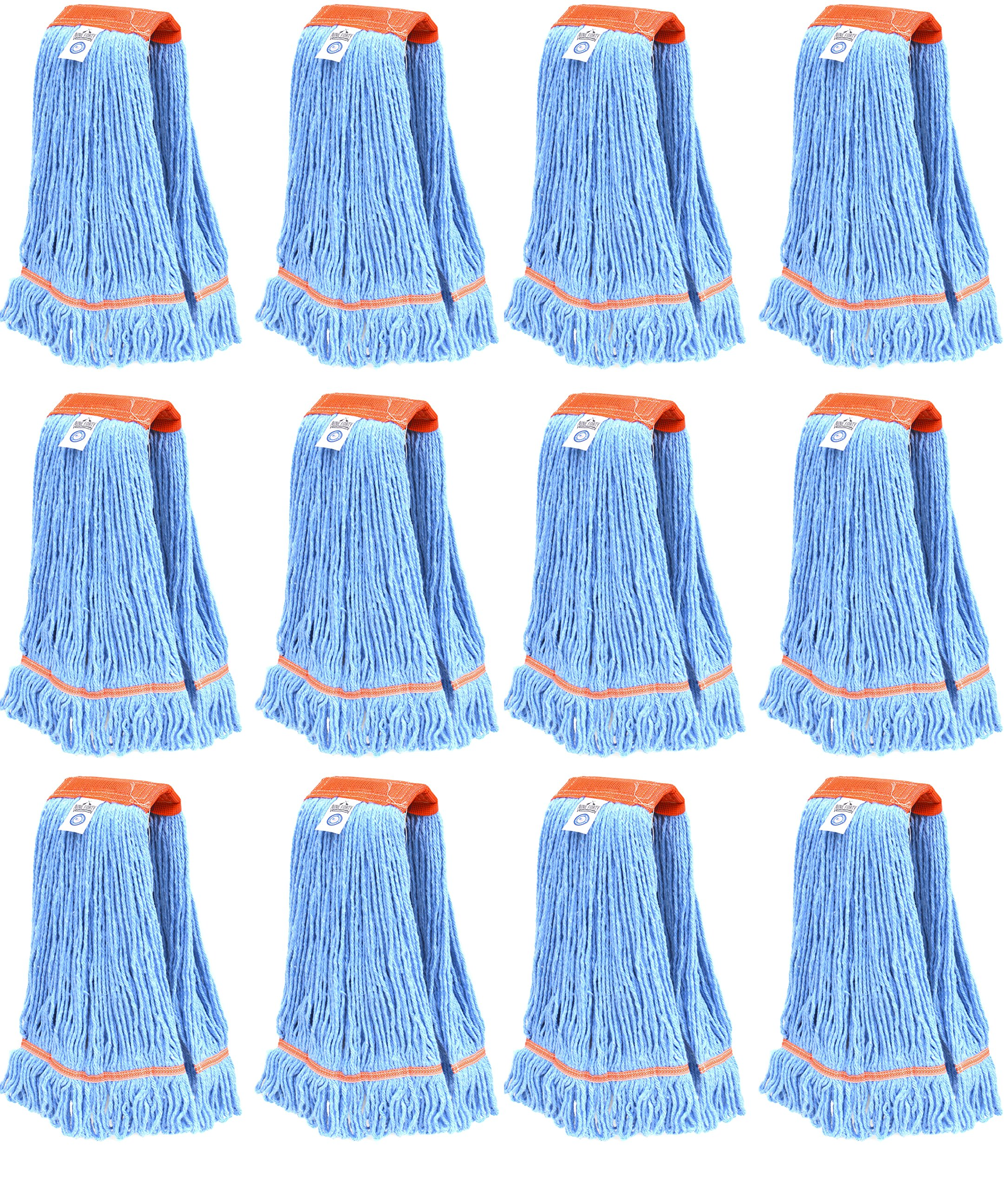 Nine Forty Industrial Strength Premium Looped End Wet Mop Head Refill – 4 Ply Synthetic Yarn (12, Large)