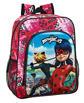 Ladybug & Cat Noir Mochila Junior niña Adaptable Carro.