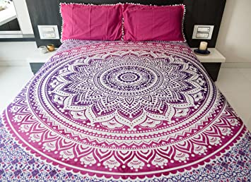 Bohemian Mandala Tapestry Bedding With Pillow Covers Indian Hippie Wall Hanging Bedspread