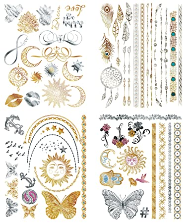 111ed1317fbb9 Flash Metallic Temporary Tattoos For Women - 150+ Boho Tattoos & Mandala  Tattoos with Gold