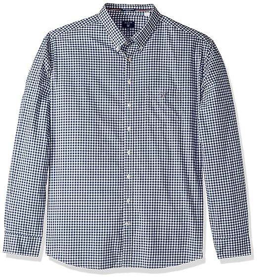 dd23a6b49b GANT Men's The Poplin Gingham Check Long Sleeve Regular Fit Casual Shirt,  Blue (Persian