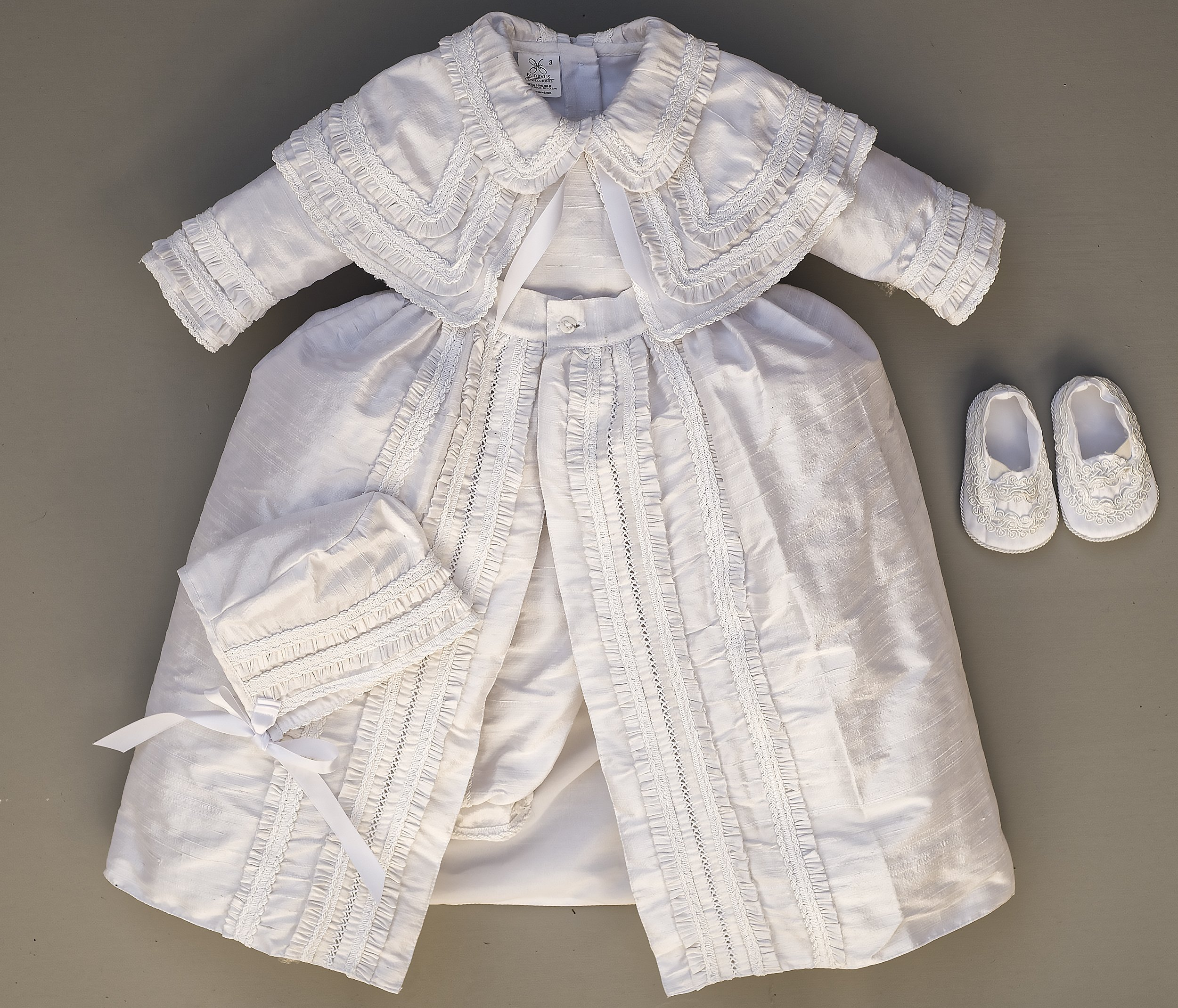 Heirloom Baby Boy's Christening Baptism Gown, Hand Made White Burbvus Ropones by Burbvus (Image #3)