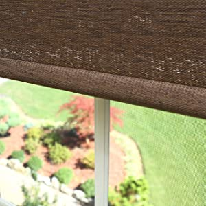 Best Home Fashion Premium Single Wood Look Roller Window Shade - Chocolate - 27