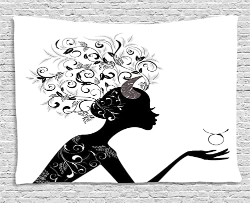 Ambesonne Zodiac Taurus Tapestry, Fashion Girl Black Silhouette with Floral Hairdo and Dress Modern, Wide Wall Hanging for Bedroom Living Room Dorm, 60 X 40 , White Black