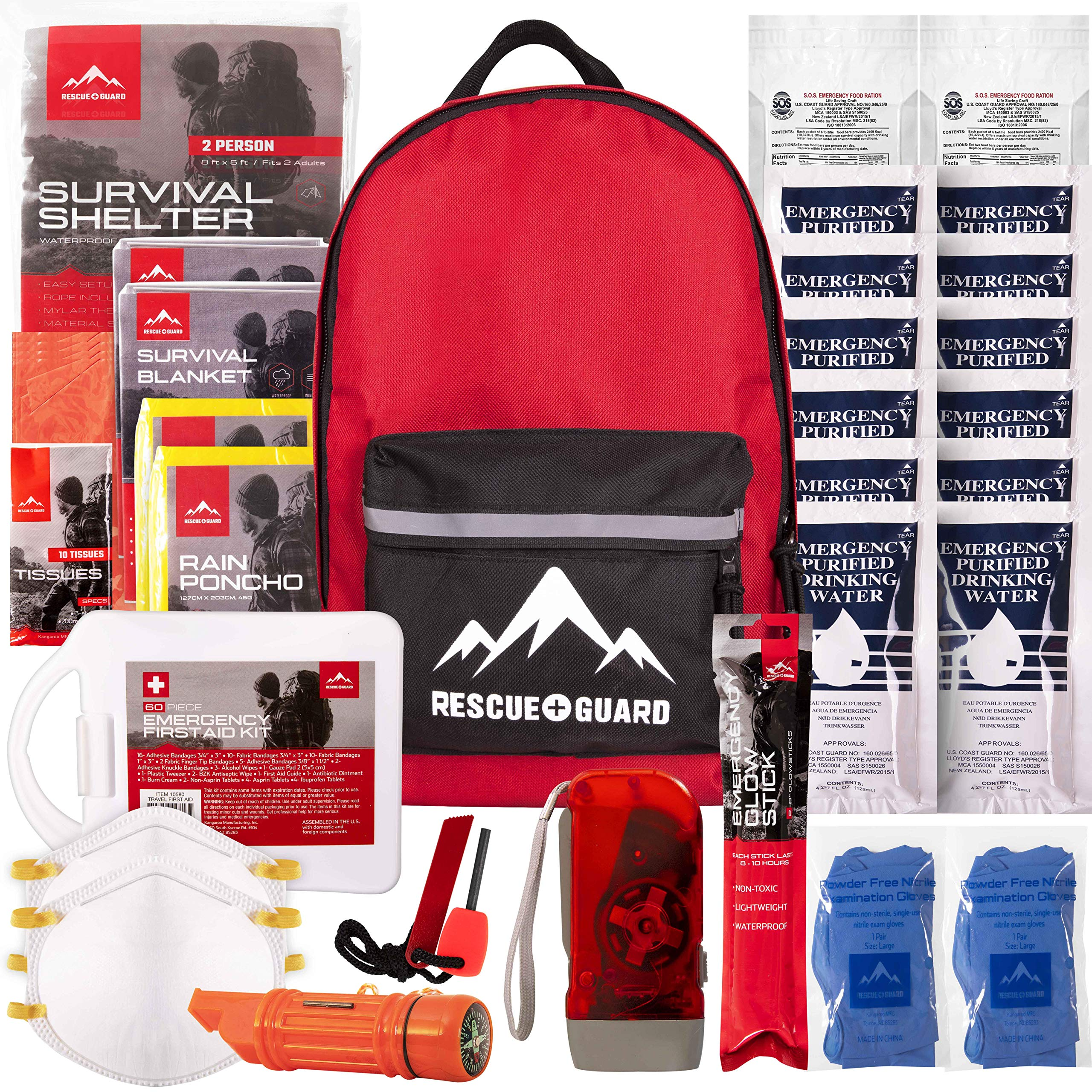 Rescue Guard; First Aid Kit, Hurricane Kit, Disaster Kit or Earthquake Kit; Emergency Survival Kit, Bug Out Bag Supplies, Survival Gear for 12 Days, 6 Days for 2, 72 Hours 4 People (Survival Pack) by Rescue Guard