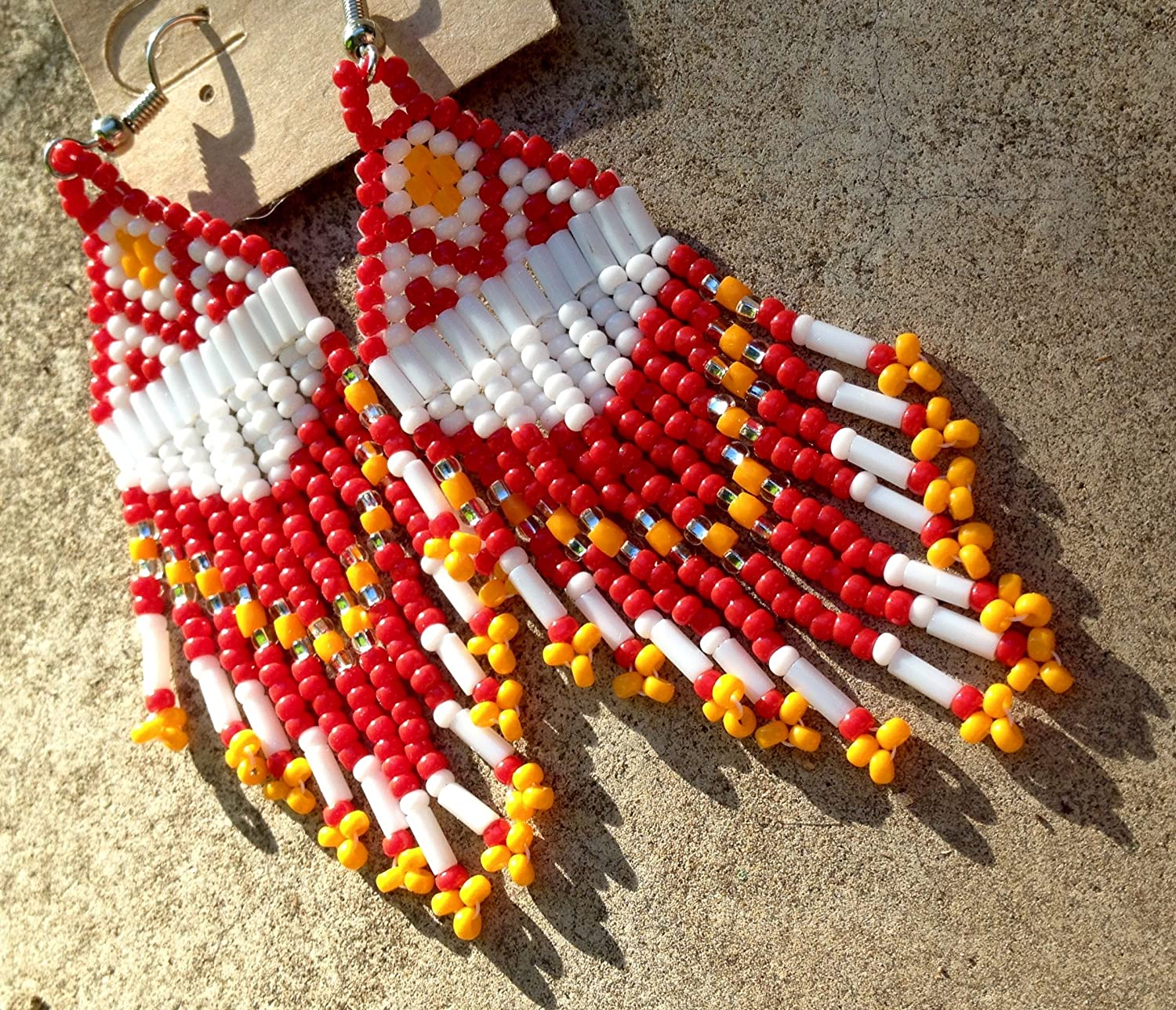 Red & Yellow Kansas City Chiefs Inspired Beaded Earrings- Handmade!!
