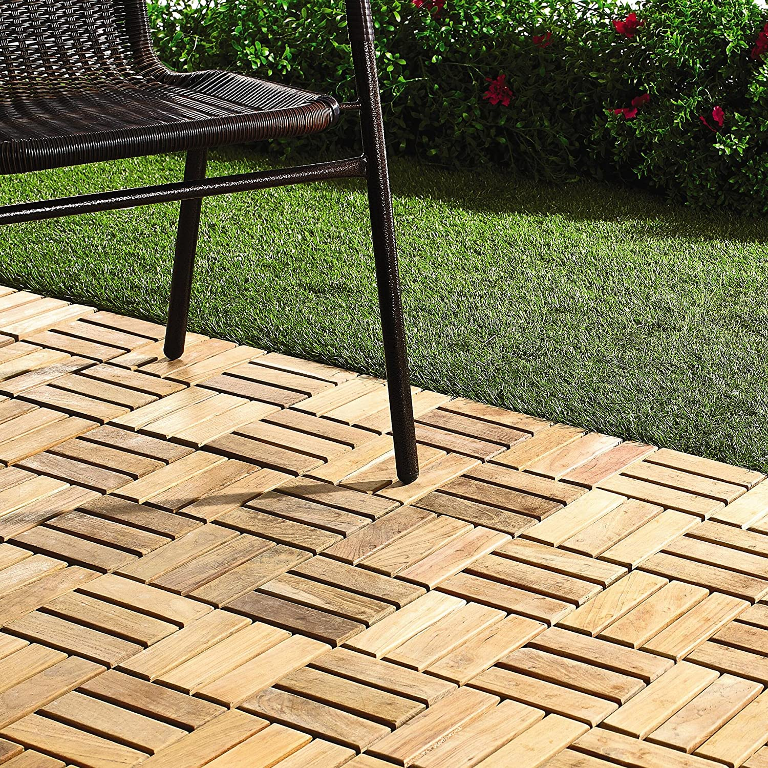 Quick Connect   Teak Interlocking Flooring Tiles   Windmill Pattern    Natural Finish   10 Square Feet   Wood Floor Coverings   Amazon.com