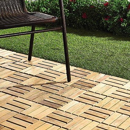 Amazon Quick Connect Teak Interlocking Flooring Tiles