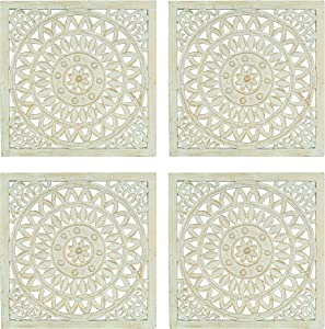 Wooden Designer Wall Hanging Plaques/Wall Plaque Wall Décor Plaques Set of 4-16x16 Inch - Greenish Gold, Elegant Sculpture Wall Décor Panel to Enhance The Décor of Your Room or Office