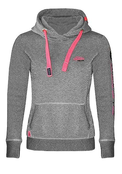 M.Conte Damen Sweatshirt Kapuzenjacke Hooded Sweater Sweat Shirt Jacke SML XL Weiss Marine Blau Grau Melange Schwarz Pink Kapuze Rachel