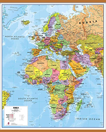 Africa Nations Map.Maps International Political Europe Middle East Africa Emea Map Laminated With Wooden Hanging Bars 39 X 47