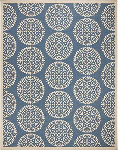 Safavieh Linden Collection LND176M Area Rug, 9 x 12 , Blue Cream