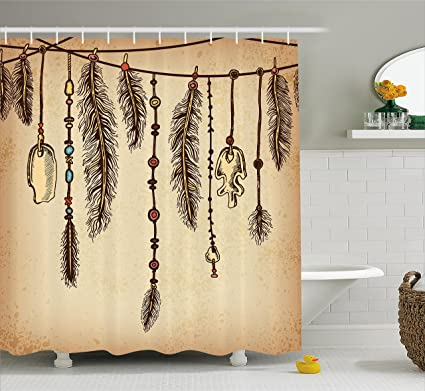 Ambesonne Tribal Shower Curtain Bohemian Ethnic Hair Accessories With Bird Feathers Beads On String Sketch