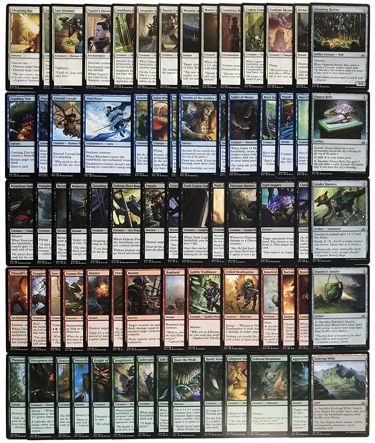 All 70 COMMON cards complete series from 'Rivals of Ixalan' in ENGLISH - Magic the Gathering RIX + Deck Box God-Player + Andycards Scorepad