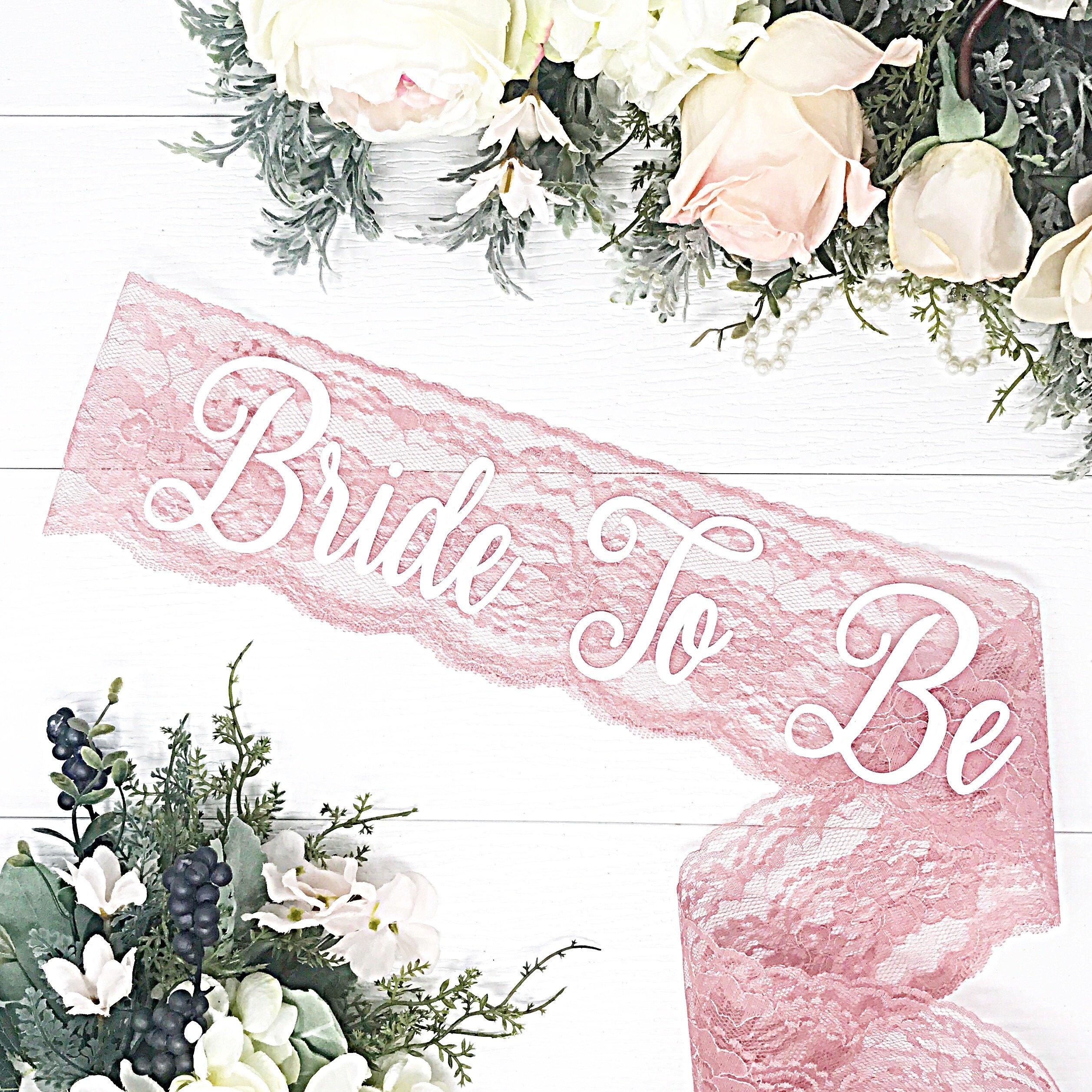 Lace Bachelorette Sash - Dusty Rose Lace