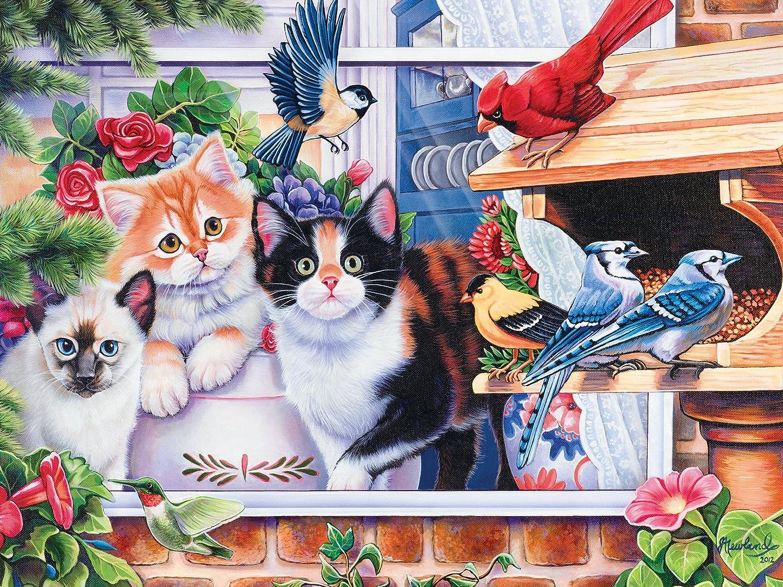 Amazon.com: MasterPieces Family Hour Springtime Wonders Cats & Birds Jigsaw Puzzle, 400-Piece: Toys & Games