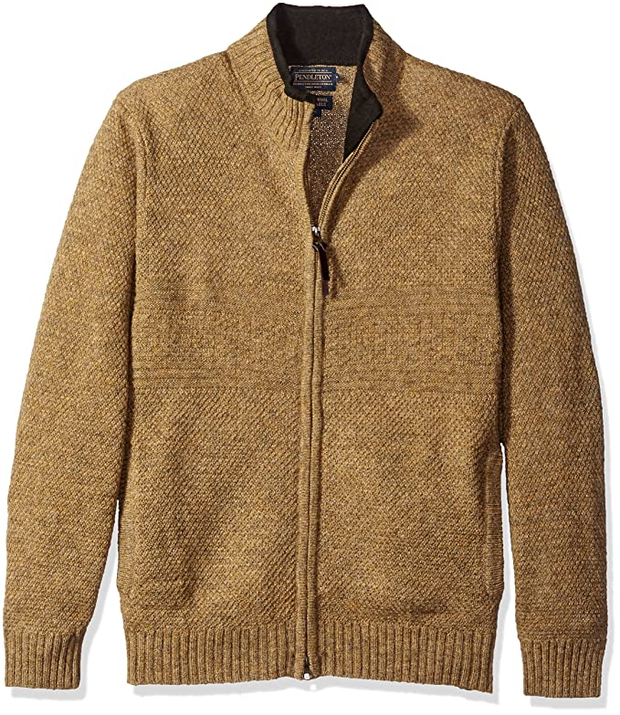 Men's Vintage Style Sweaters – 1920s to 1960s Pendleton Mens Shetland Zip-Front Sweater $120.00 AT vintagedancer.com