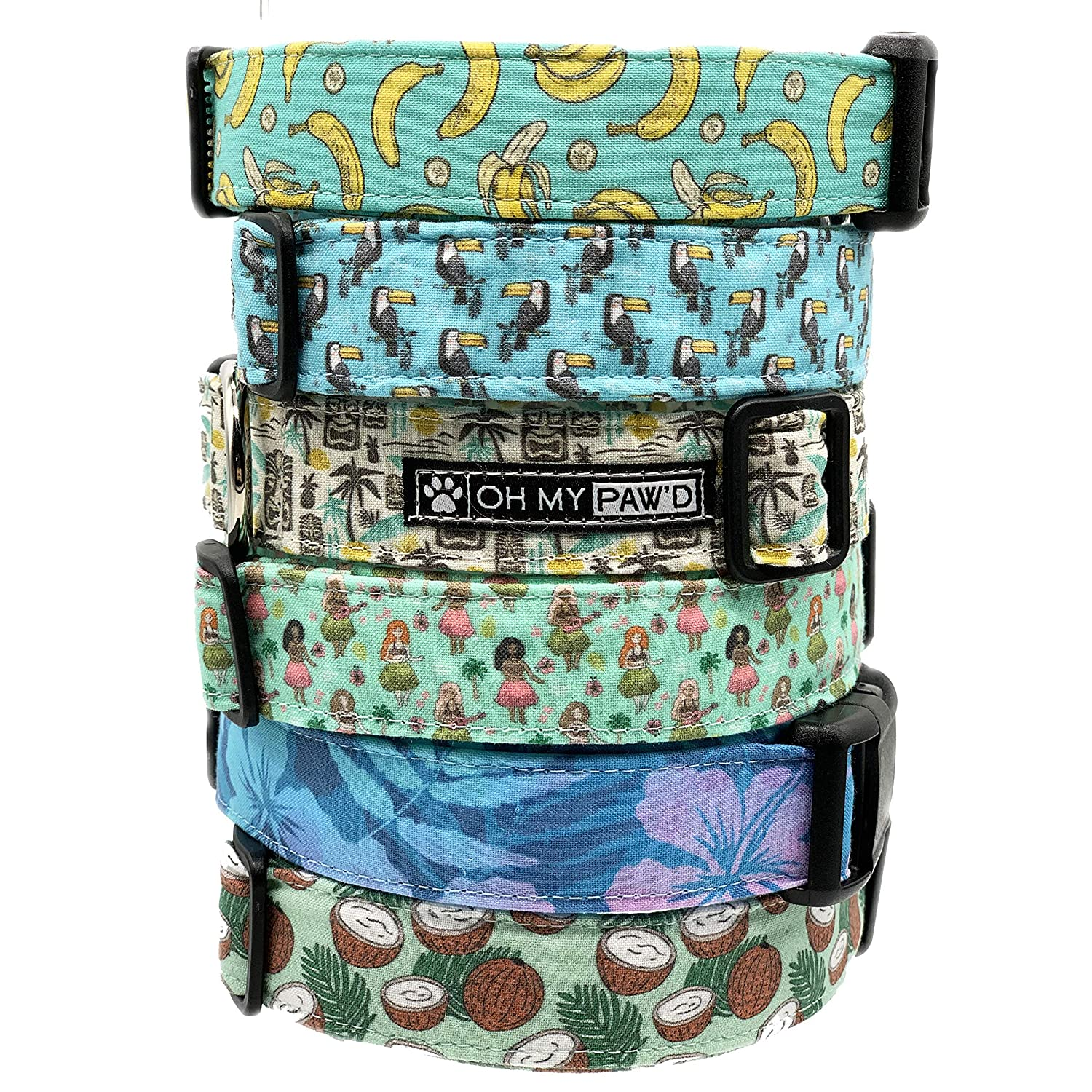 Hand Made Dog Collar by Oh My Pawd Tiki Collar for Pets Size Medium 3//4 Inch Wide and 13-20 Inches Long