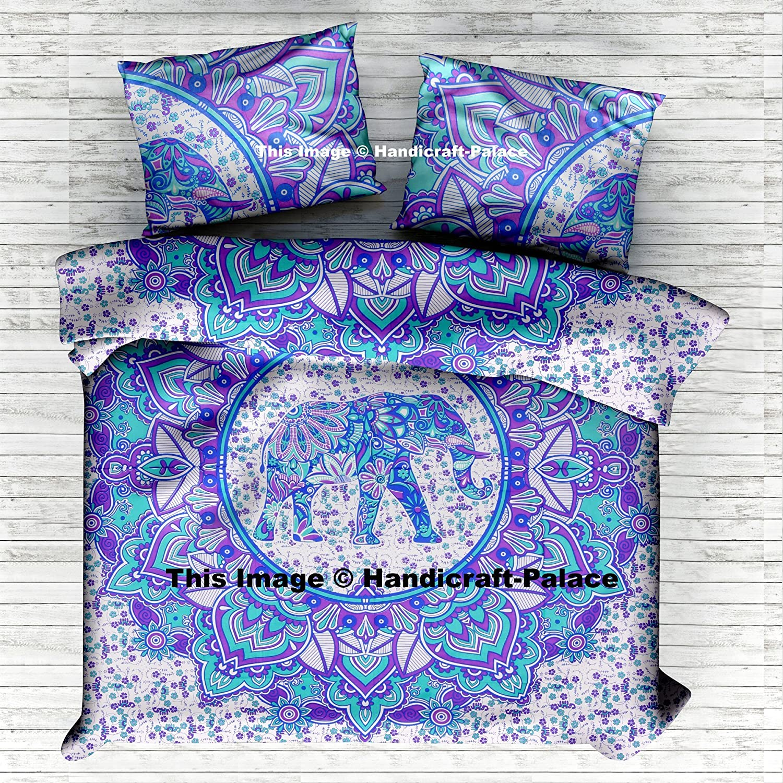 Indian Elephant Mandala Queen Duvet Cover Cotton Reversible Doona Cover Quilt Blanket Hippie Set Pillow case By Handicraftspalace 108