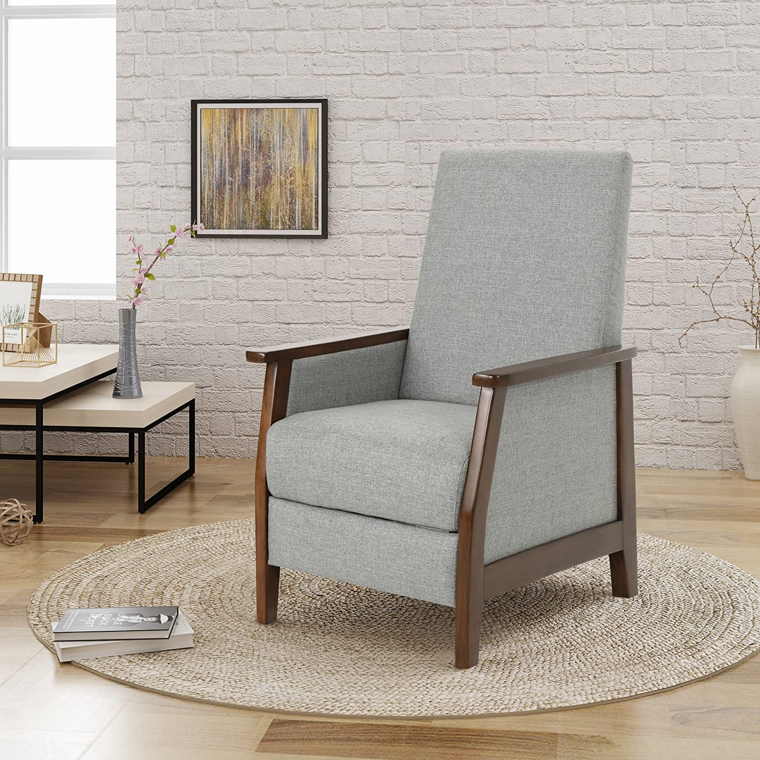 Christopher Knight Home Alex Push Back Recliner, Grey + Brown
