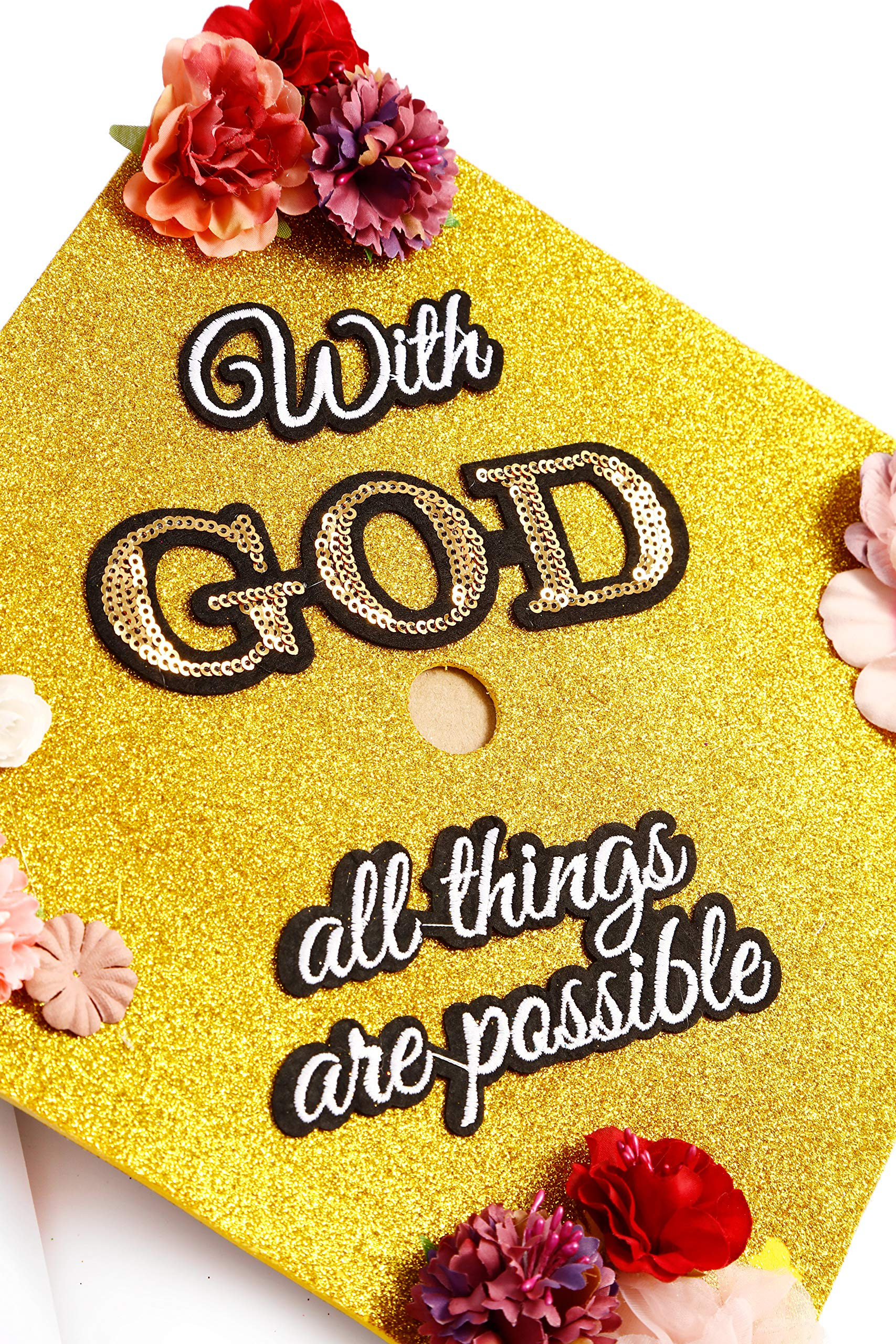 GradWYSE Handmade Graduation Cap Topper Graduation Gifts Graduation Cap Decorations, with God All Things are Possible Gold by GRADWYSE (Image #4)
