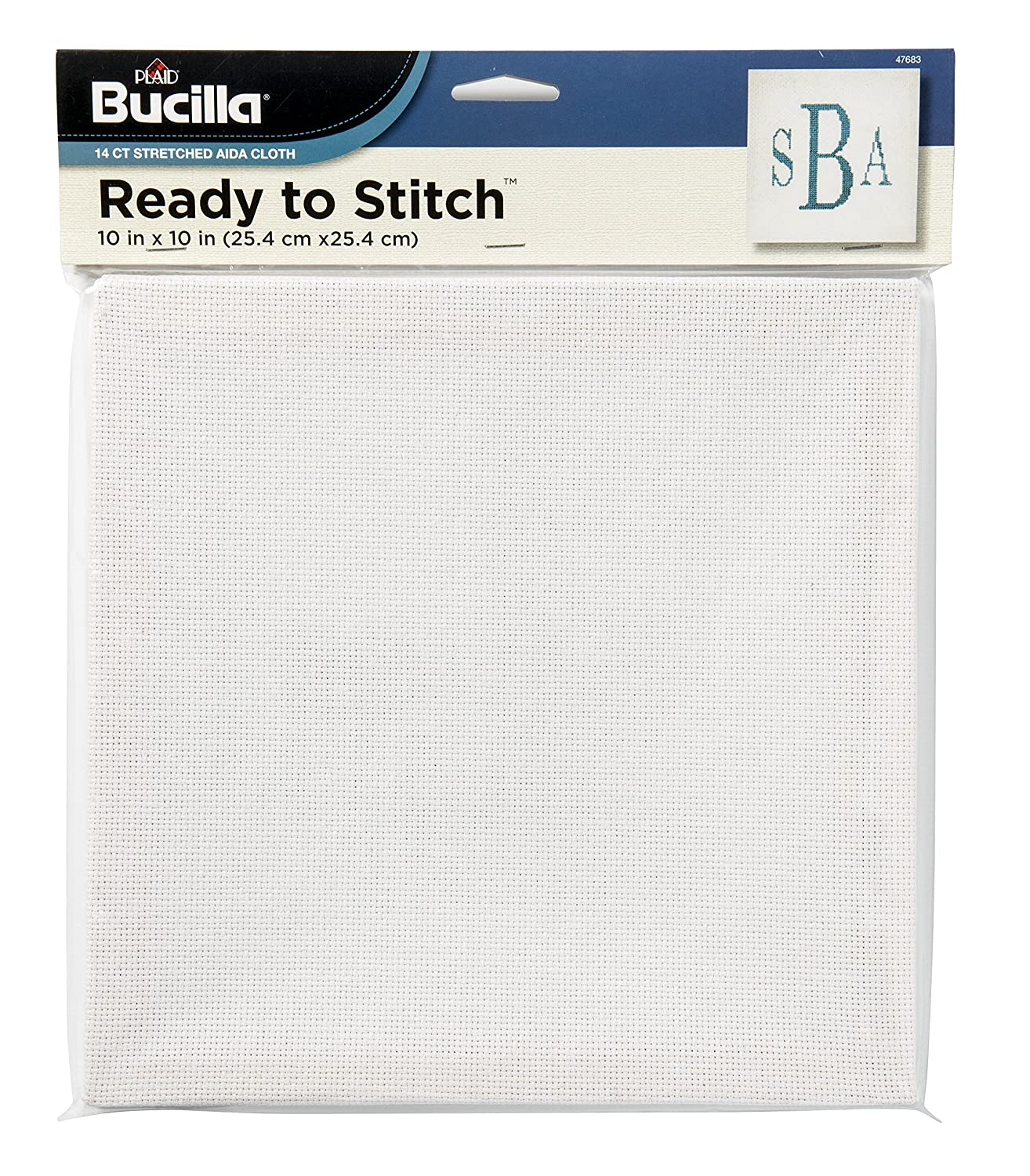 Bucilla Ready To Stitch Blank Aida Cloth, 10 by 10-Inch, 47683 White Plaid Inc