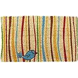 "Entryways Little Groovy Bird Handmade, Hand-Stenciled, All-Natural Coconut Fiber Coir Doormat 18"" X 30"" x .75"""