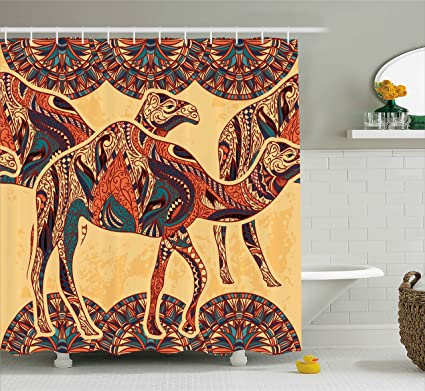 Ambesonne Tribal Decor Shower Curtain By African Camel Animals With Oriental Arabesque Ornaments Folk Culture