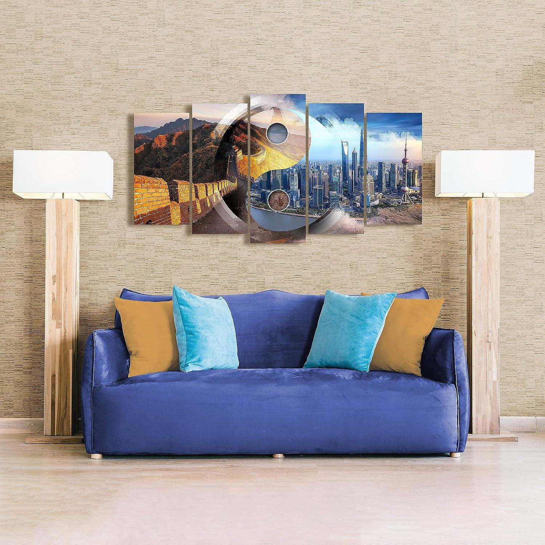 Dekoarte 261 Quadro moderno su tela montato su telaio in legno di 5 pezzi 150x80cm New York Skyline Manhattan