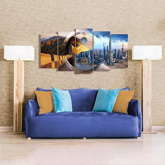 DekoArte 493 - Cuadros Modernos Impresión de Imagen Artística Digitalizada | Lienzo Decorativo para Tu Salón o Dormitorio | Estilo Ciudades Ying Yang ...