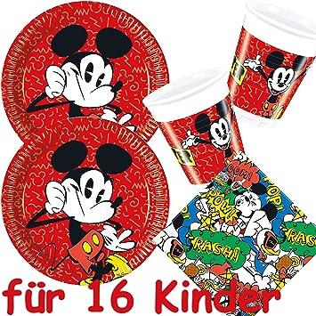 Procos Carpeta 53 Teiliges Partyset Mickey Mouse 16 Teller 16