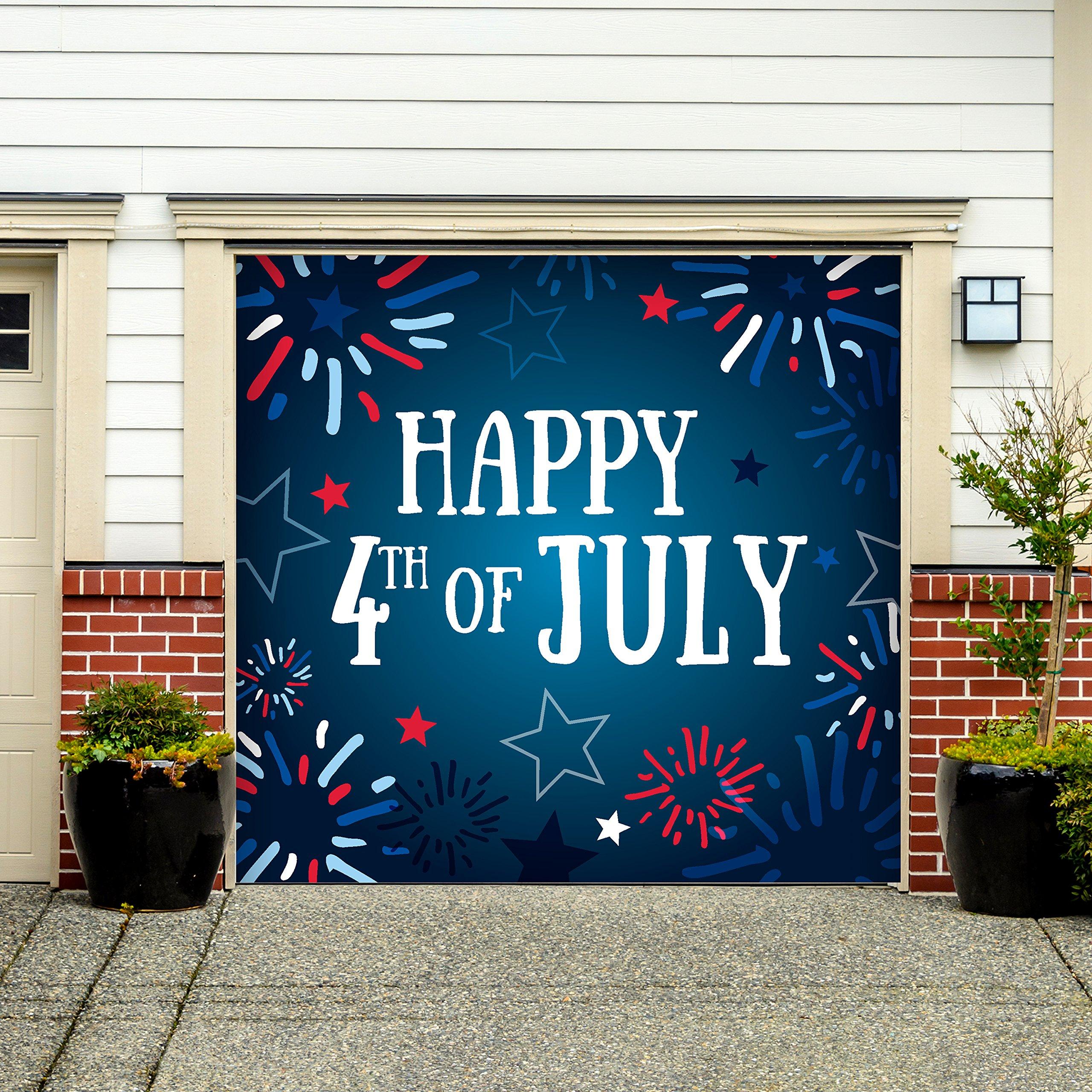 Outdoor Patriotic American Holiday Garage Door Banner Cover Mural Décoration - Fireworks Happy 4th of July - Outdoor American Holiday Garage Door Banner Décor Sign 7'x 8'