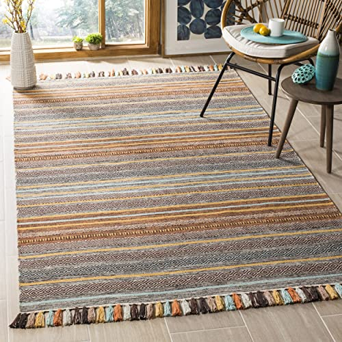 Safavieh Montauk Collection MTK901E Turquoise Blue and Brown Area Rug 3 x 5