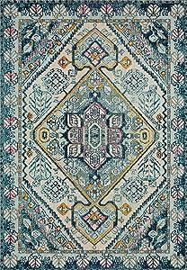 "Loloi II Nadia Collection Vintage Distressed Persian Area Rug 2'-2"" x 12' Runner Aqua/Navy"