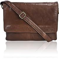 Estalon Leather Laptop Messenger Bag (Tan Smooth)