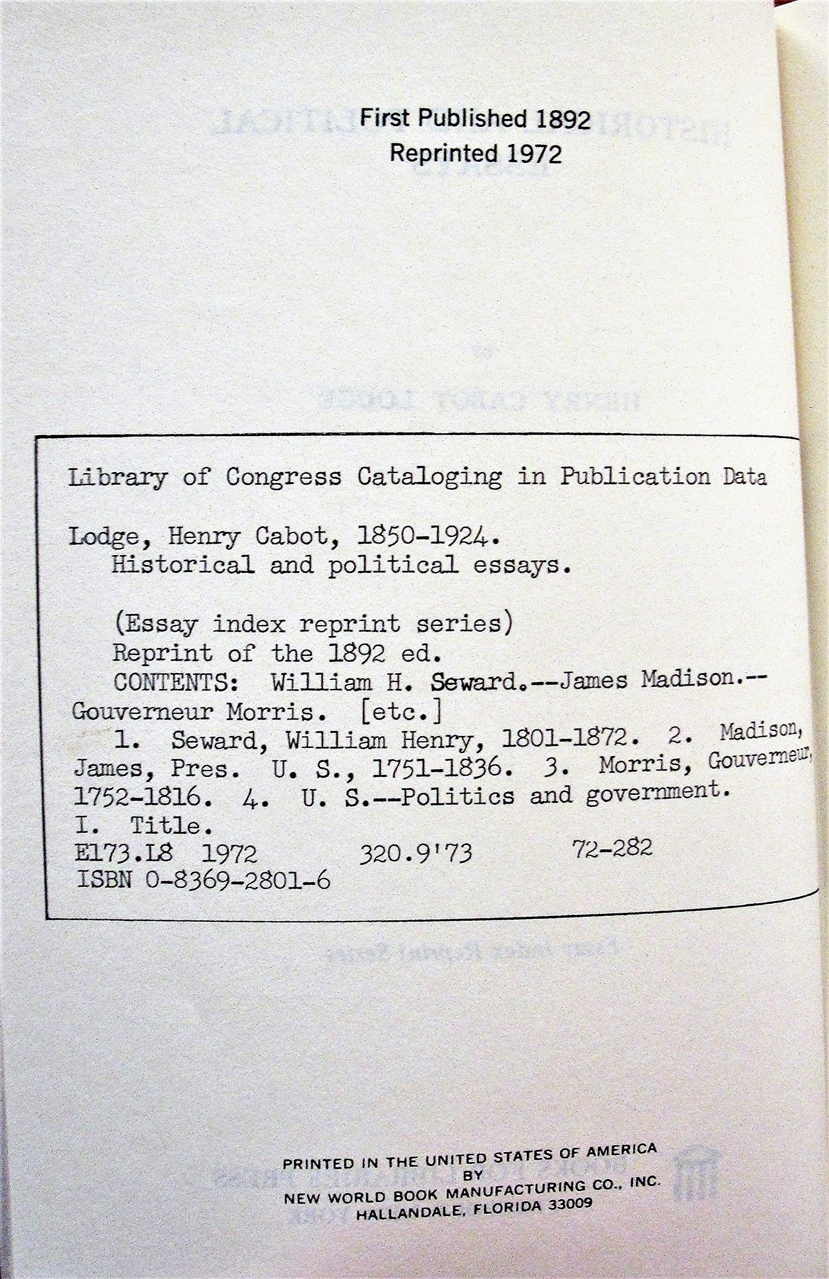 Historical And Political Essays Essay Index Reprint Series Henry  Historical And Political Essays Essay Index Reprint Series Henry Cabot  Lodge  Amazoncom Books