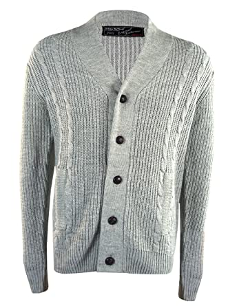 7c082a5281 Urban Revival Mens Thick Cable Knit Shawl Sweater Grey at Amazon Men s  Clothing store