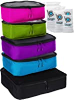 Packing Cubes 5pcs Value Set for Travel - Large Medium and Slim Bago Organizers
