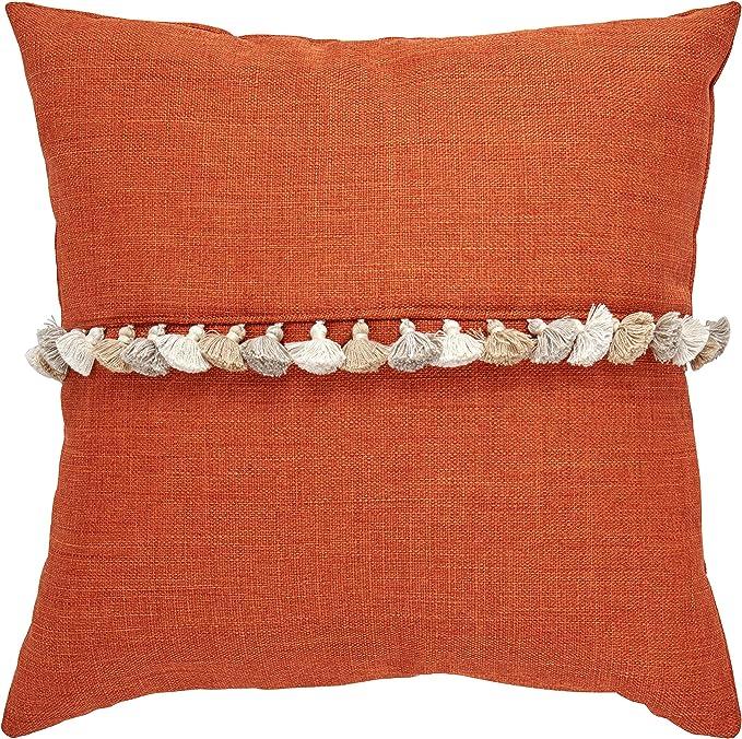 Amazon Brand Rivet Contemporary Tassel Throw Pillow 17 X 17 Inch Terracotta Home Kitchen Amazon Com
