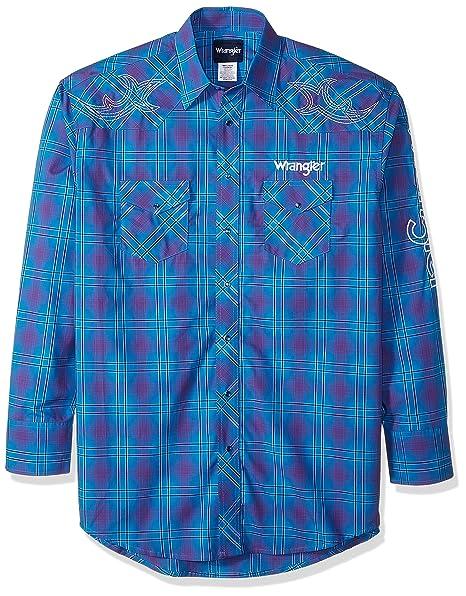 e4b48541 Wrangler Men's Dodge Ram Rodeo Series Woven Shirt-Big and Tall, Blue/Purple