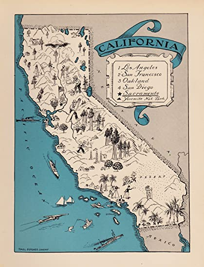 California Map Cartoon.Amazon Com Plaindealing Vintage California Picture Map 1930s Blue