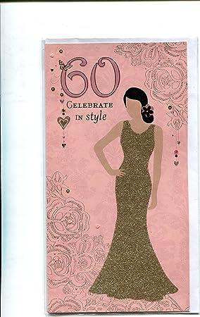 happy birthday 60 60th glamorous lady glitter card