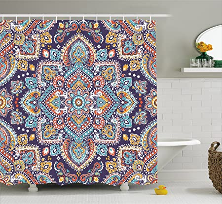 India Shower Curtain By Ambesonne Bohemian Indian Ethnic Vintage Henna Inspired Boho Mehndi Art