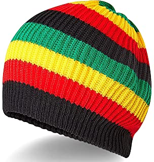50a4dea2f Rasta Skully Beanie Knit Hat Cap Weed Ganja Leaf in Black Red Yellow ...