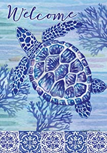 Custom Decor Turtles & Tiles Welcome - Garden Size, Decorative Double Sided, Licensed and Copyrighted Flag - Printed in The USA Inc. - 12 Inch X 18 Inch Approx. Size