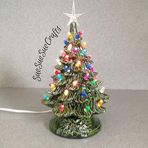 ceramic christmas tree 11 tall christmas decoration vintage style holiday lighted decoration green glaze - Christmas Tree Decorated With Vintage Ornaments