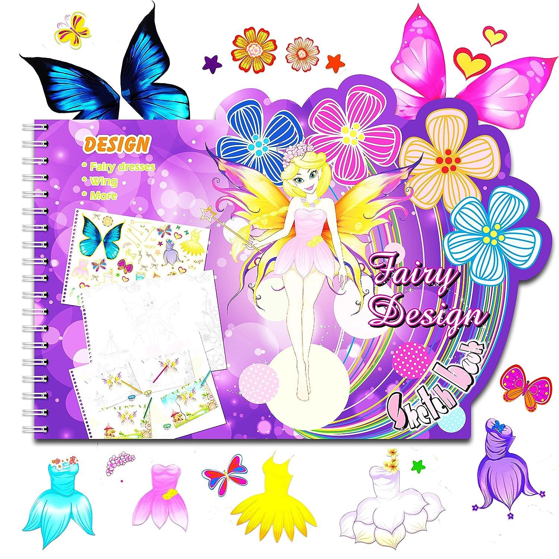 Amazon.com: Fairy Dress Sketch Portfolio Sticker Book - Designer ...