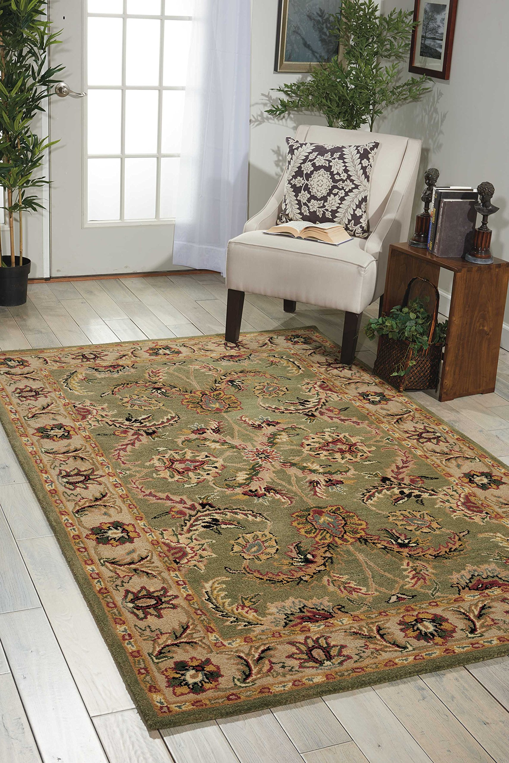 Nourison India House (IH18) Green Rectangle Area Rug, 5-Feet by 8-Feet  (5' x 8')