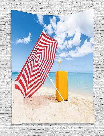 Amarillo y azul tapizado por Ambesonne, playa de arena de viento con parasol y ruedas